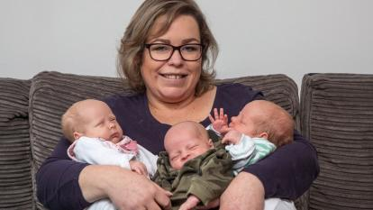 Beata Bienias was 34 weeks pregnant when Amelia, Matylda and Borys were born by Caesarian section at Royal United Hospital on Dec. 13.