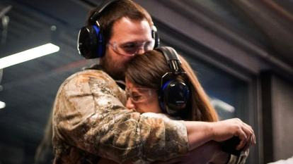 A couple got engaged at the shooting range.