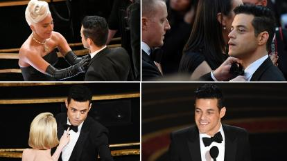 Rami Malek had some trouble with his bow tie at the Oscars.