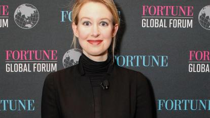 Elizabeth Holmes poses at the Fortune Global Forum in 2015.