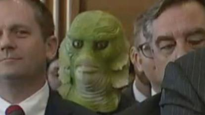 The swamp thing sat in perfect view during the senate confirmation hearing for Acting Interior Secretary David Bernhardt.