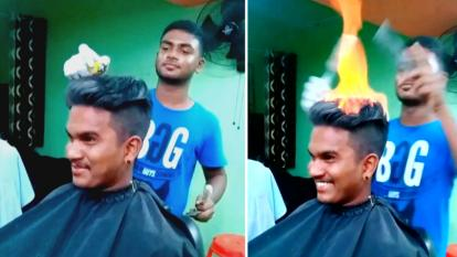 Cutting hair using fire