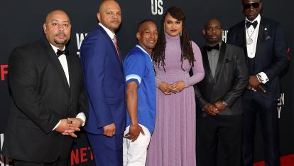 "The Central Park Five pose with Ava DuVernay at the premiere of ""When They See Us."""