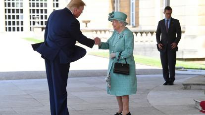President Trump greets Queen Elizabeth II at Buckingham Palace.