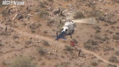 "An elderly hiker was strapped to a stretcher wildly spinning in a dizzying video shocking the country.  The 74-year-old woman had fallen while hiking in Phoenix, Arizona, and suffered face, wrist and hip injuries on Tuesday.  During the windy airlift, firefighters say a line that was supposed to prevent the stretcher from spinning in circles failed, leaving the woman helpless as she twisted around a nauseating 175 times over the course of more than two minutes. ""Sometimes when we bring the helicopter up"