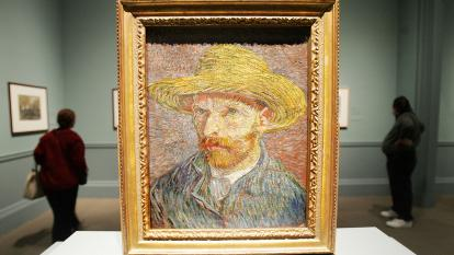 A self-portrait of Vincent van Gogh is displayed.