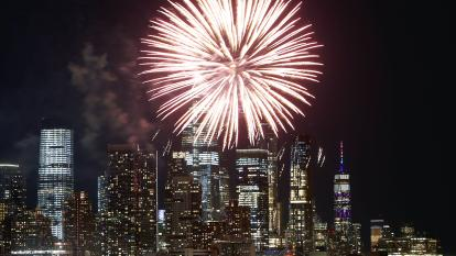 Fireworks are seen above the New York City skyline.