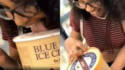 Woman who licked ice cream tub