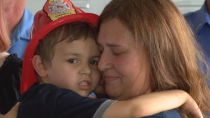 Leo Hassebrock, 5, spent an hour and a half in the storm drain before firefighters in Evansville, Indiana, were able to pull him to safety.
