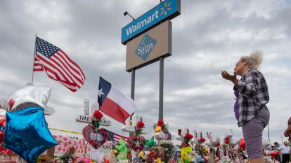 A memorial outside the El Paso, Texas, Walmart where 22 people were killed on Aug. 3.