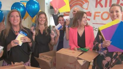 Students surprised their teachers with school supplies.