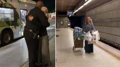 Emily Zamourka met the Los Angeles police officer who posted the video of her singing on a subway platform that captivated America.