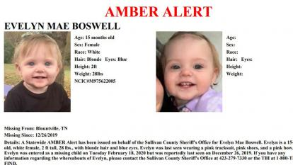 A North Carolina pond is being searched in connection with missing toddler Evelyn Boswell.
