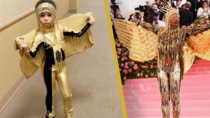 Five-year-old emulates Billy Porter.