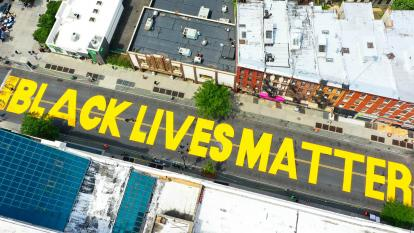 'Black Lives Matter' printed on a street