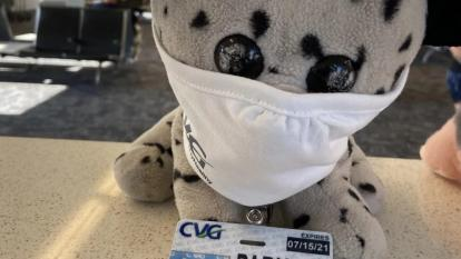 Stuffed animal left at airport gets wild ride before going home.
