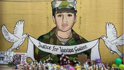 One of several murals painted in honor of Vanessa Guillen.