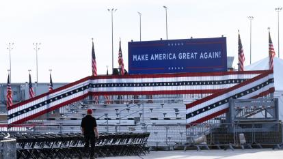 empty stadium where canceled Florida Trump rally was to be held