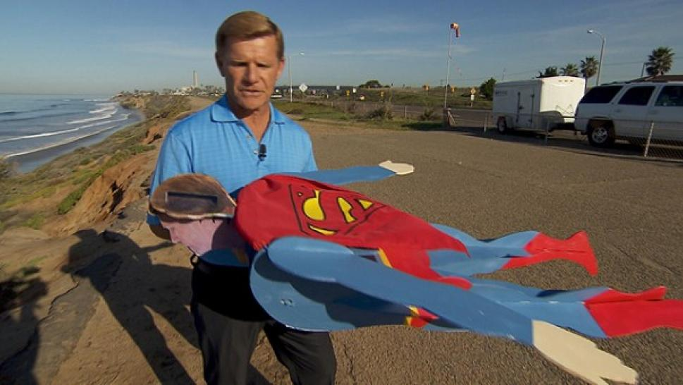 Superman flies over california beach in model plane form inside folks in california got a big surprise when they looked up to the sky and saw what appeared to be a real life superman flying over a beach publicscrutiny Images