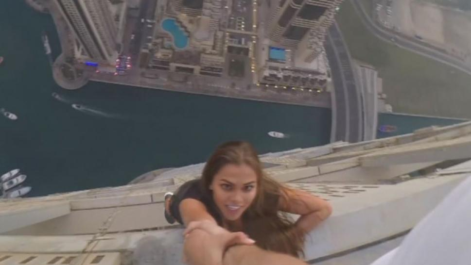 model takes to new heights for insane photo shoot from