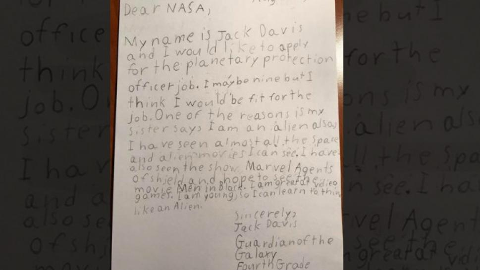 9 year old guardian of the galaxy applies to nasa job i can learn to think like an alien