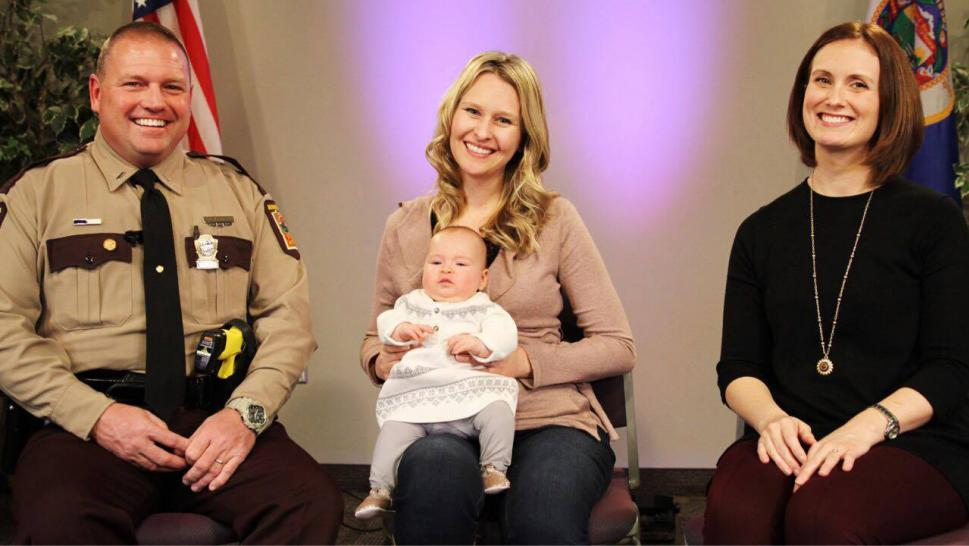 Left: Lt. Paul Stricker, Kristin Lonsbury and Baby Elise, Virginia Marsh