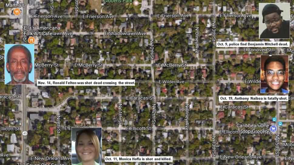 From Oct. 9 through Nov. 14, four people were killed in Seminole Heights.