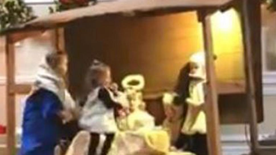 A 2-year-old stole baby Jesus from the manger.