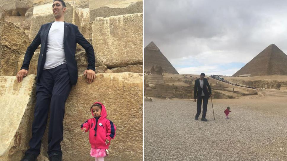 The world's tallest man, smallest woman visit pyramids