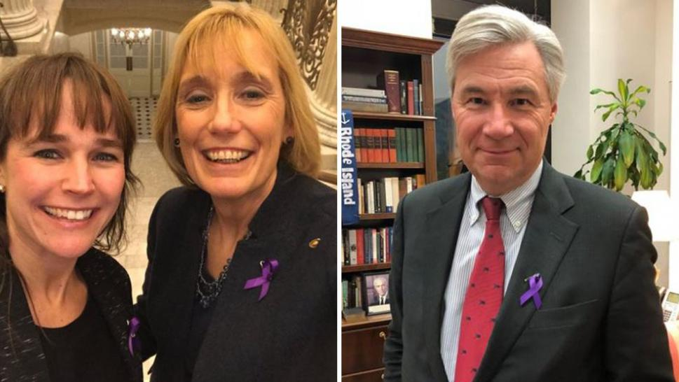 (From left) New Hampshire teacher McKenzie, Senator Maggie Hassan, D-NH, and Senator Sheldon Whitehouse, D-RI, were among the those wearing purple ribbons to raise awareness about the U.S. growing opioid crisis at President Donald Trump's State of the Union address.