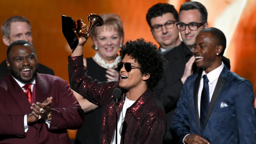 Bruno Mars wins at the Grammys.