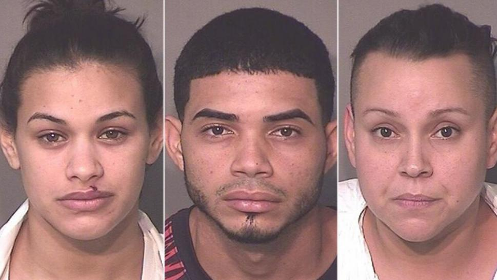 Left: Glorianmarie Quinones Montes, 22, Alexis Ramos-Rivera, 22, and Ishanr Lopez-Ramos, 35, (Osceola County Sheriff's Office)