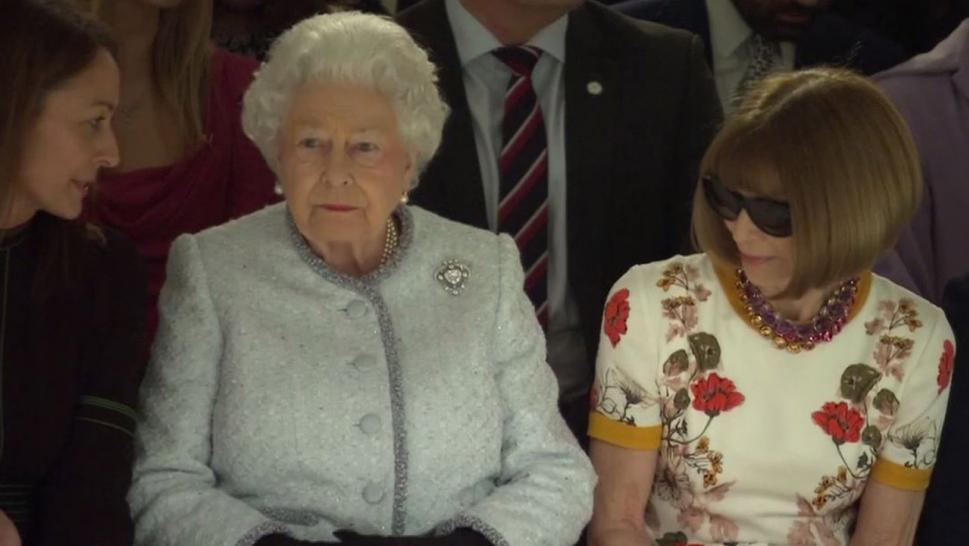 Queen Elizabeth sat in the front row at London Fashion Week.