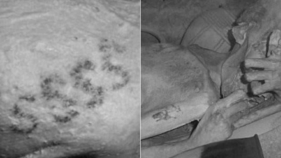 S-shaped motifs on the on the upper arm of a mummy.