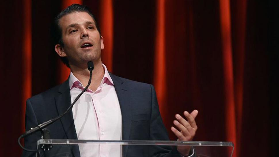 Donald Trump Jr. speaks to chocolate bunny.