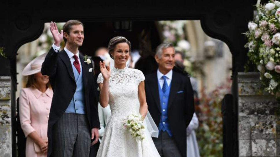 David Matthews, right, at the marriage of his son, James, to Pippa Middleton.