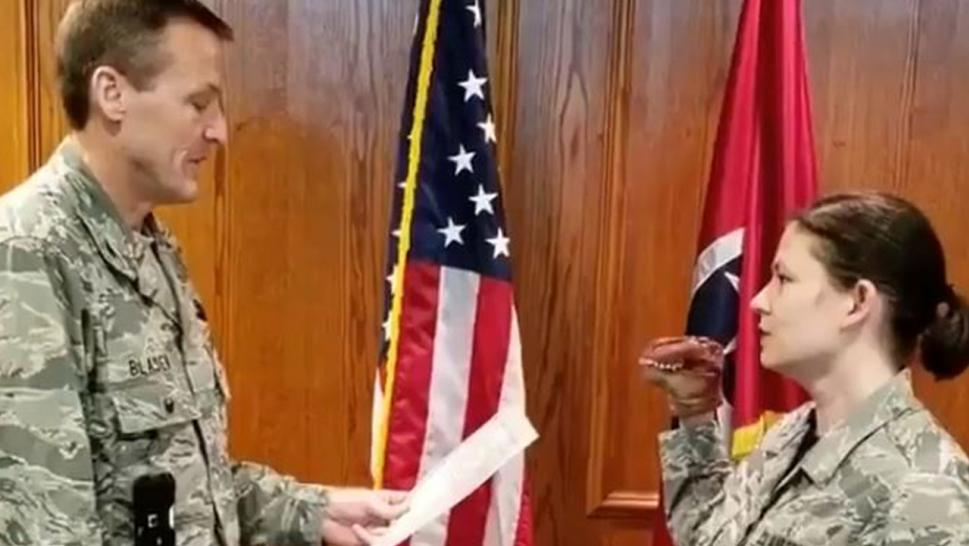 Two Air National Guard members have been disciplined over a hand puppet used in oath ceremony.