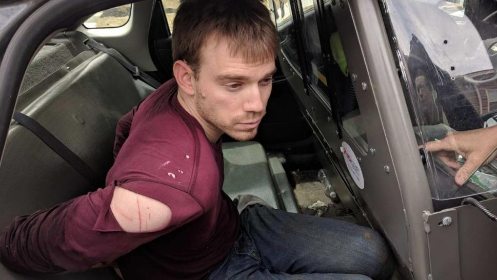 """Travis Reinking apprehended moments ago in a wooded area near Old Hickory Blvd & Hobson Pk.,"" Police wrote."