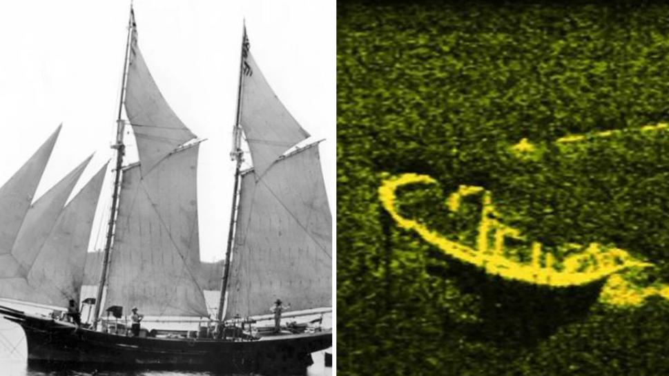 (From Right) The Lettie May, a schooner believed to be similar to the Lake Serpent, which may be pictured in sonar image.
