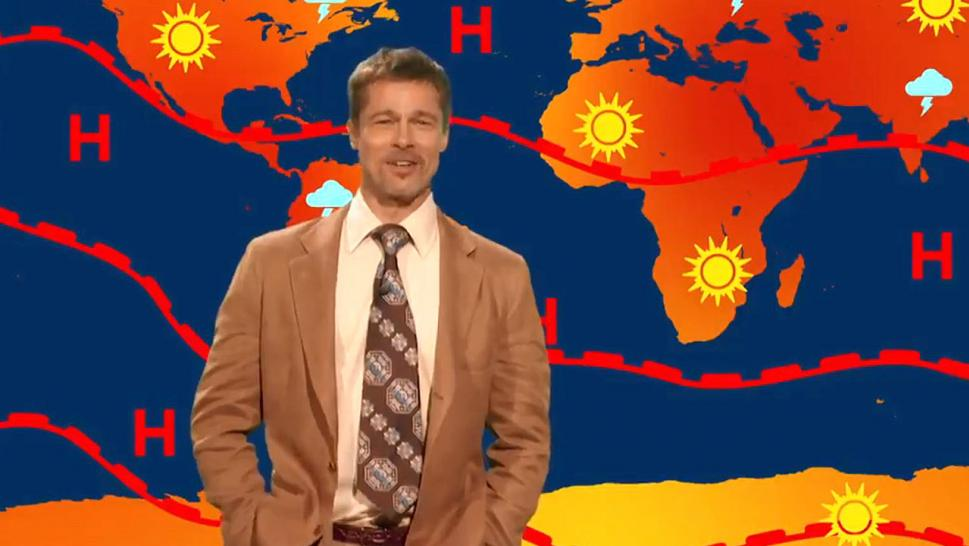 Brad Pitt's depressing weatherman returns to The Jim Jefferies Show