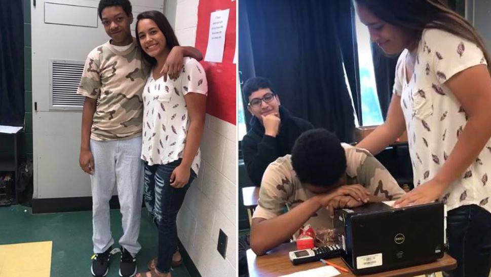 High school student gives classmate new shoes.
