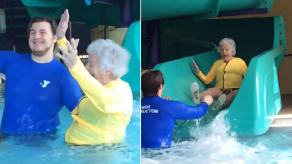 93-year-old Lucy battled her fear of water by sliding down giant slide.