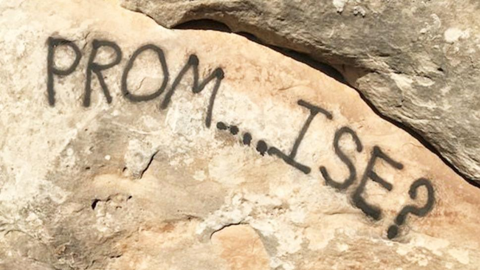A 'promposal' was found scrawled on the side of a national monument.