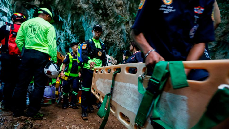 Emergency responders on Monday were searching for a group of boys feared trapped in a flooded cave deep inside a mountain in Thailand, authorities said.