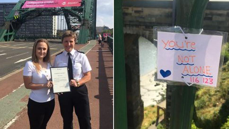 A British woman's handmade signs have stopped people from plunging off bridge.