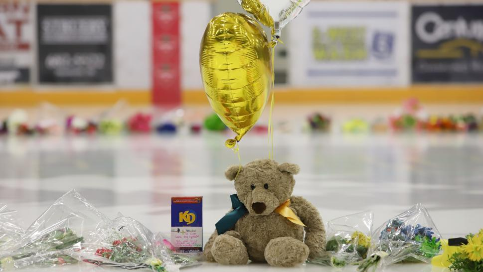 A makeshift memorial was created on the ice where the Humboldt Broncos play.