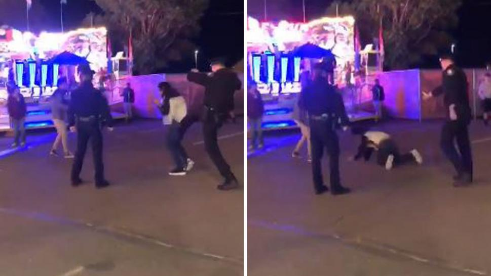 "The boy appeared to clutch his face and stagger away as an officer kicked him in the back to the ground, while nearby police yelled ""get on the ground,"" according to the video."