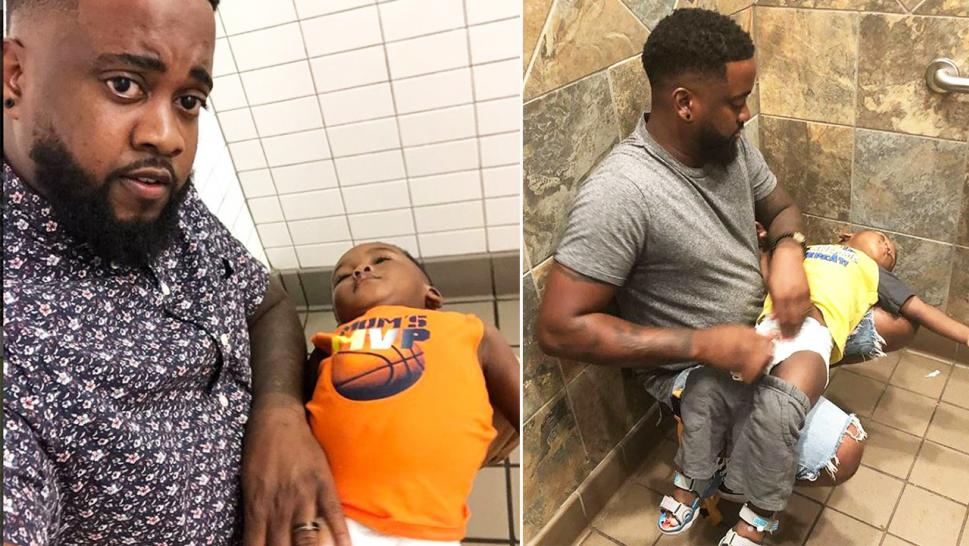 Donte Palmer holds his son in uncomfortable positions to change him in the men's bathroom.