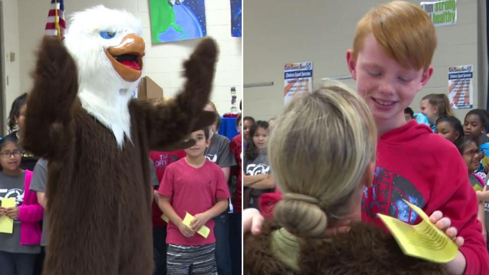 Sergeant Desiree Lancey surprised her son wearing an eagle costume upon her homecoming.