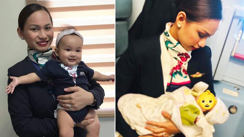 Inspired by her own journey of breastfeeding her baby (left), Patrisha Organo stepped in to wet nurse a fussy passenger's baby (right) after they ran out of formula.
